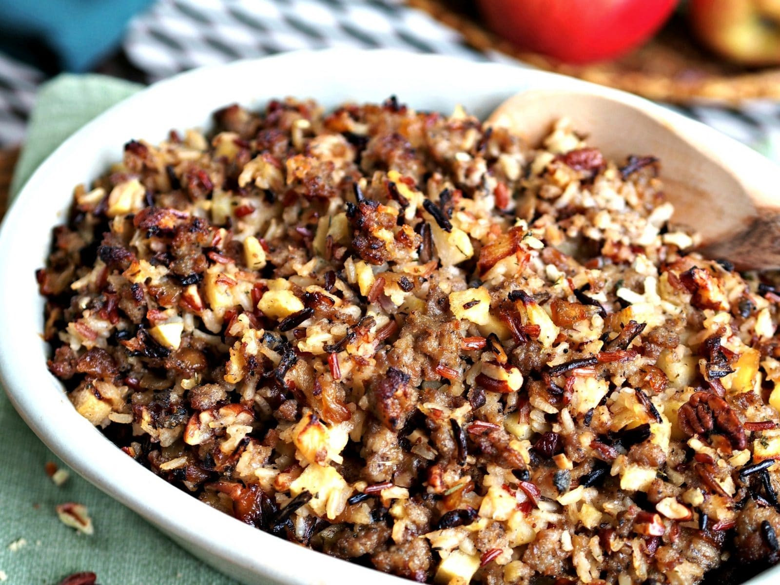 Thanksgiving Wild Rice Recipe  Wild Rice Jones Sausage & Apple Stuffing Simply Sated