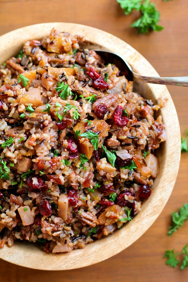 Thanksgiving Wild Rice Recipe  Wild Rice Stuffing with Butternut Squash Pears and