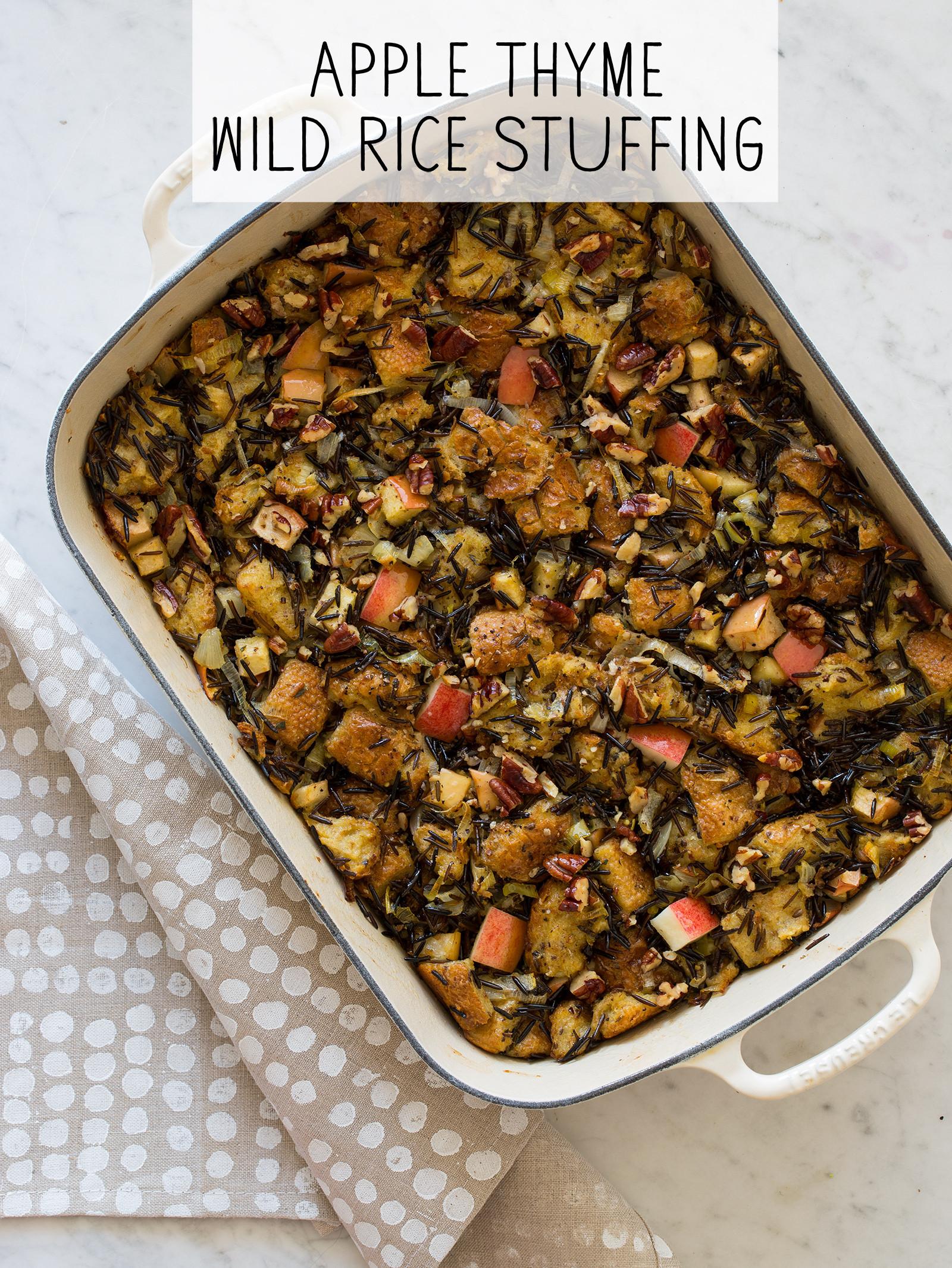 Thanksgiving Wild Rice Stuffing  Apple Thyme Wild Rice Thanksgiving Stuffing recipe