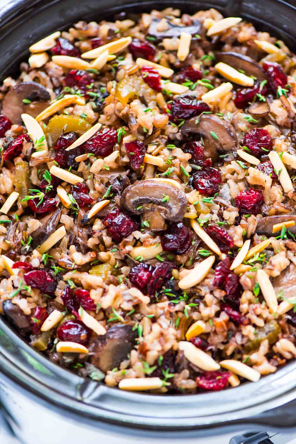 Thanksgiving Wild Rice Stuffing  Crock Pot Stuffing with Wild Rice Cranberries and Almonds