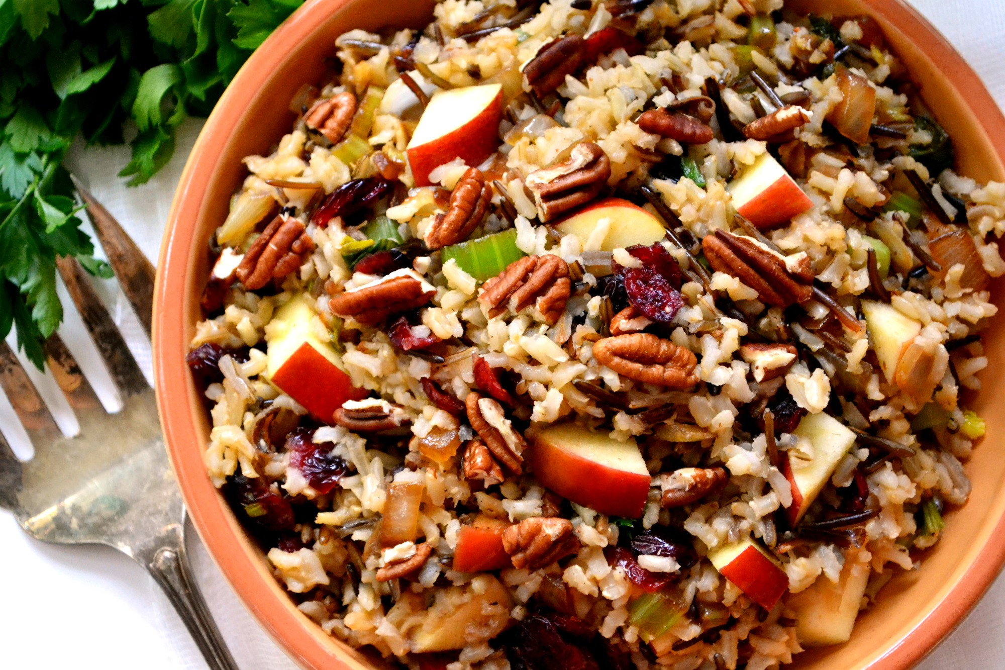 Thanksgiving Wild Rice Stuffing  Brown & Wild Rice Stuffing with Apples Cranberries