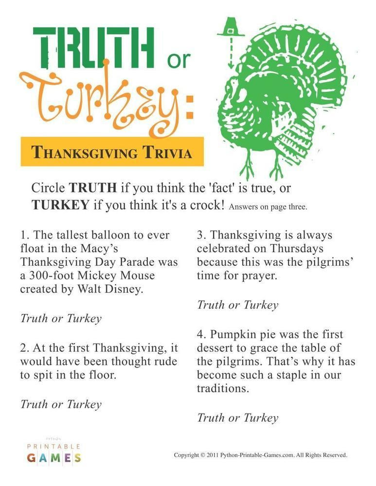 Turkey And Thanksgiving Facts  Thanksgiving Truth or Turkey Trivia $6 95