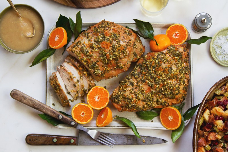 Turkey Breast Recipe For Thanksgiving  Herb Orange Turkey Breast With Roasted Pear Gravy