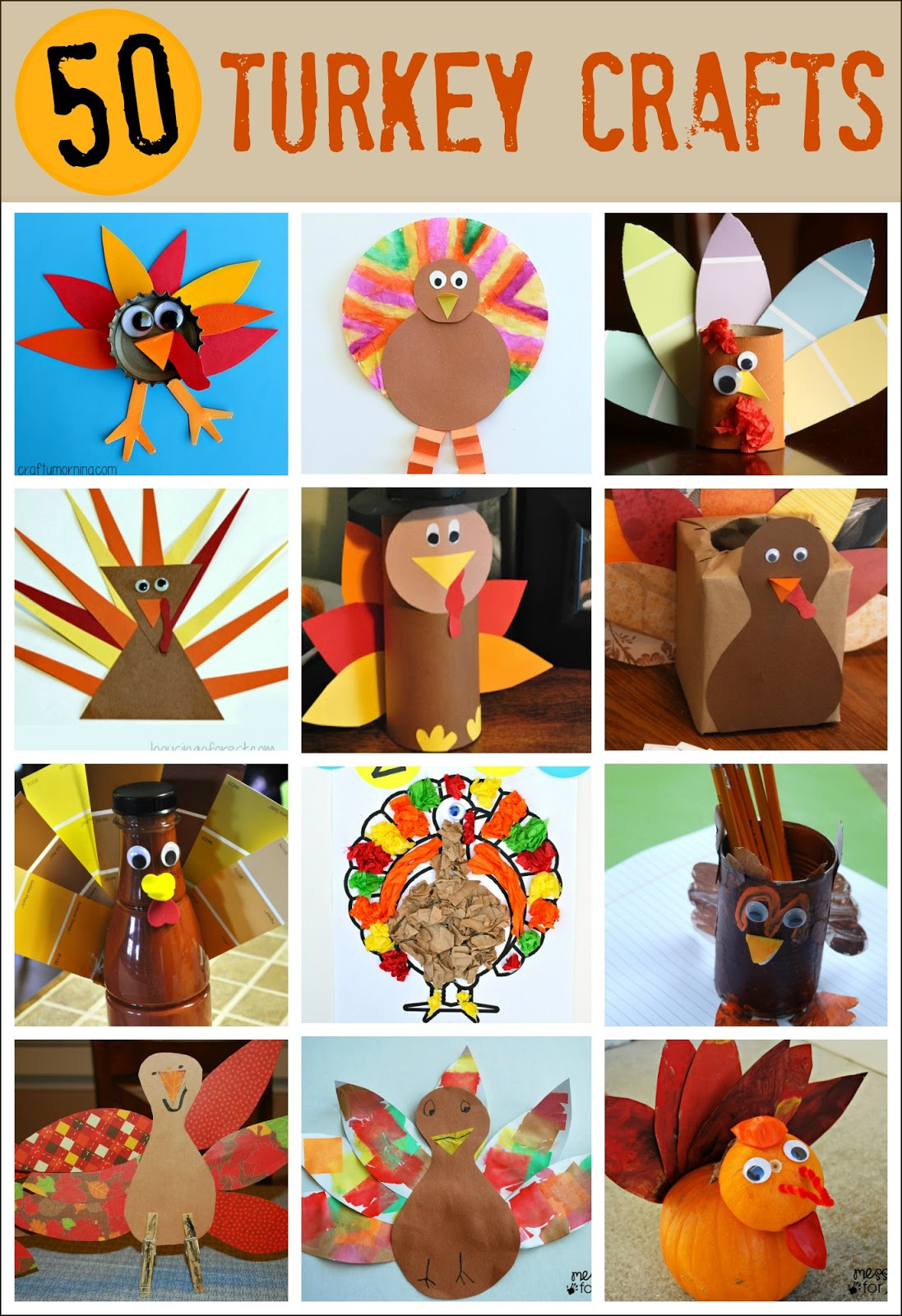 Turkey Crafts For Thanksgiving  50 Turkey Thanksgiving Crafts Mess for Less