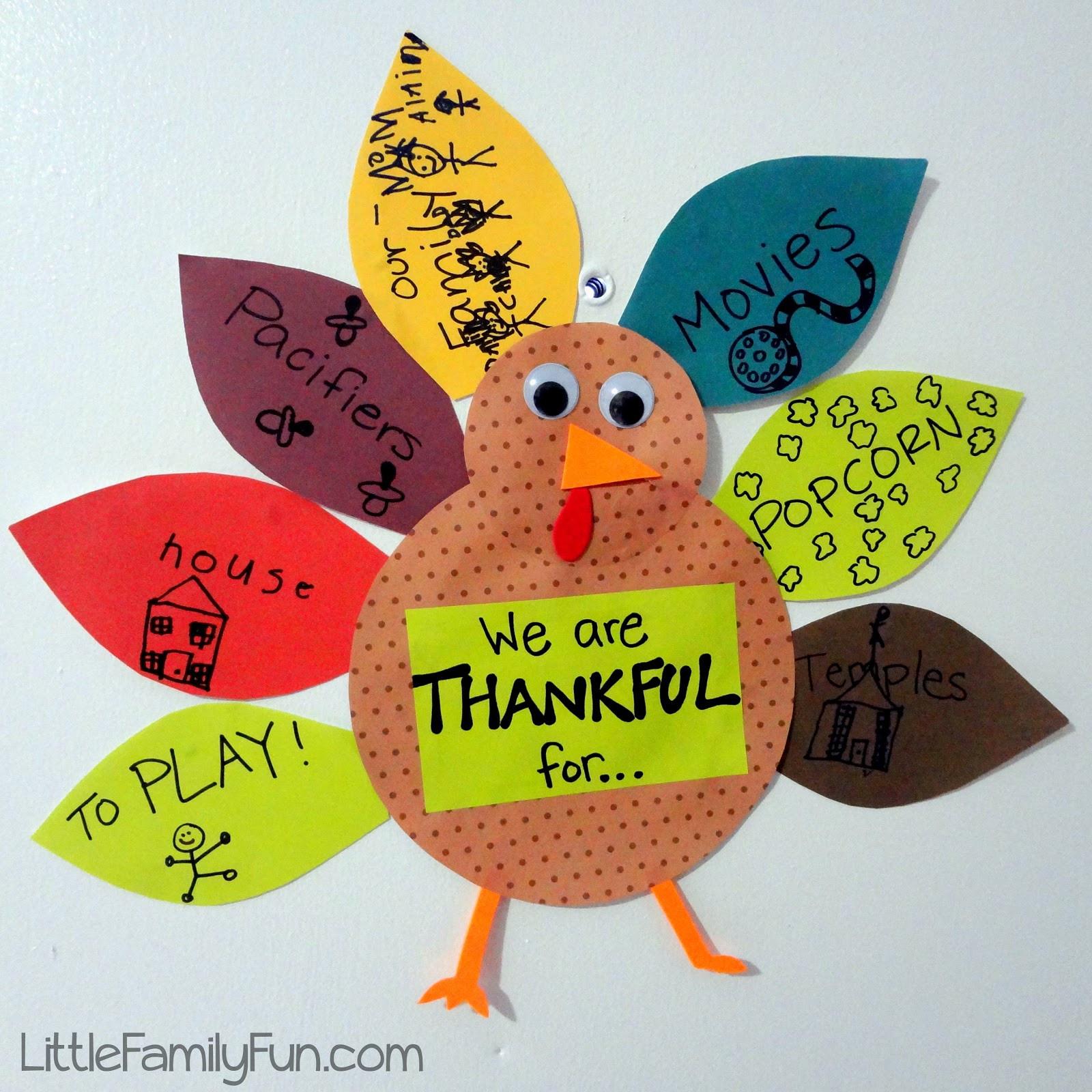 Turkey Crafts For Thanksgiving  Little Family Fun Gratitude Turkey 2012 Thanksgiving