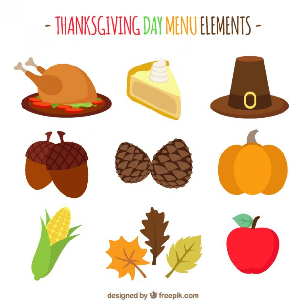 Turkey Icon For Thanksgiving  Thanksgiving flat icons set Vector