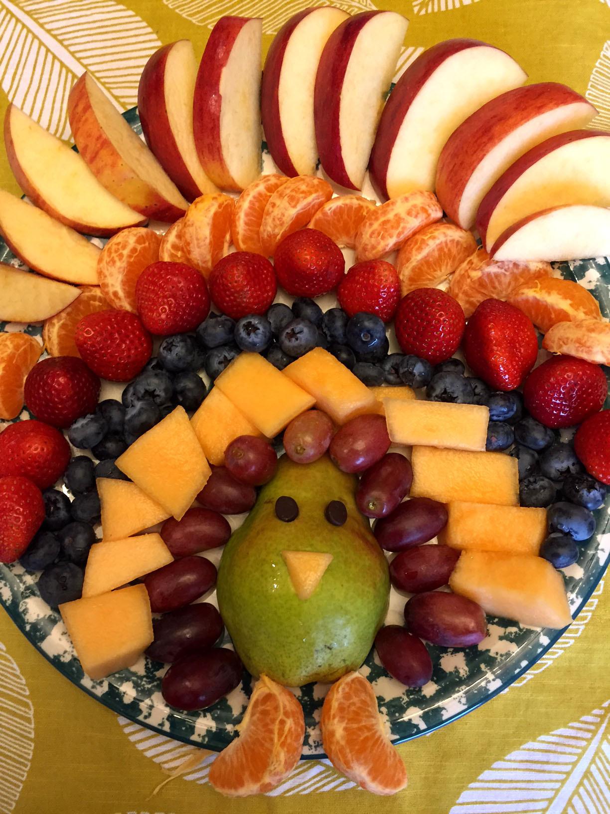 Turkey Images Thanksgiving  Thanksgiving Turkey Shaped Fruit Platter Appetizer Recipe