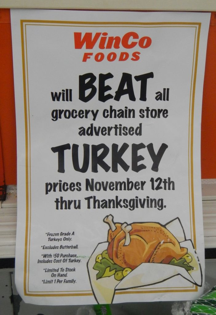 Turkey Prices 2019 Thanksgiving  WinCo Will Beat Advertised Thanksgiving Prices including
