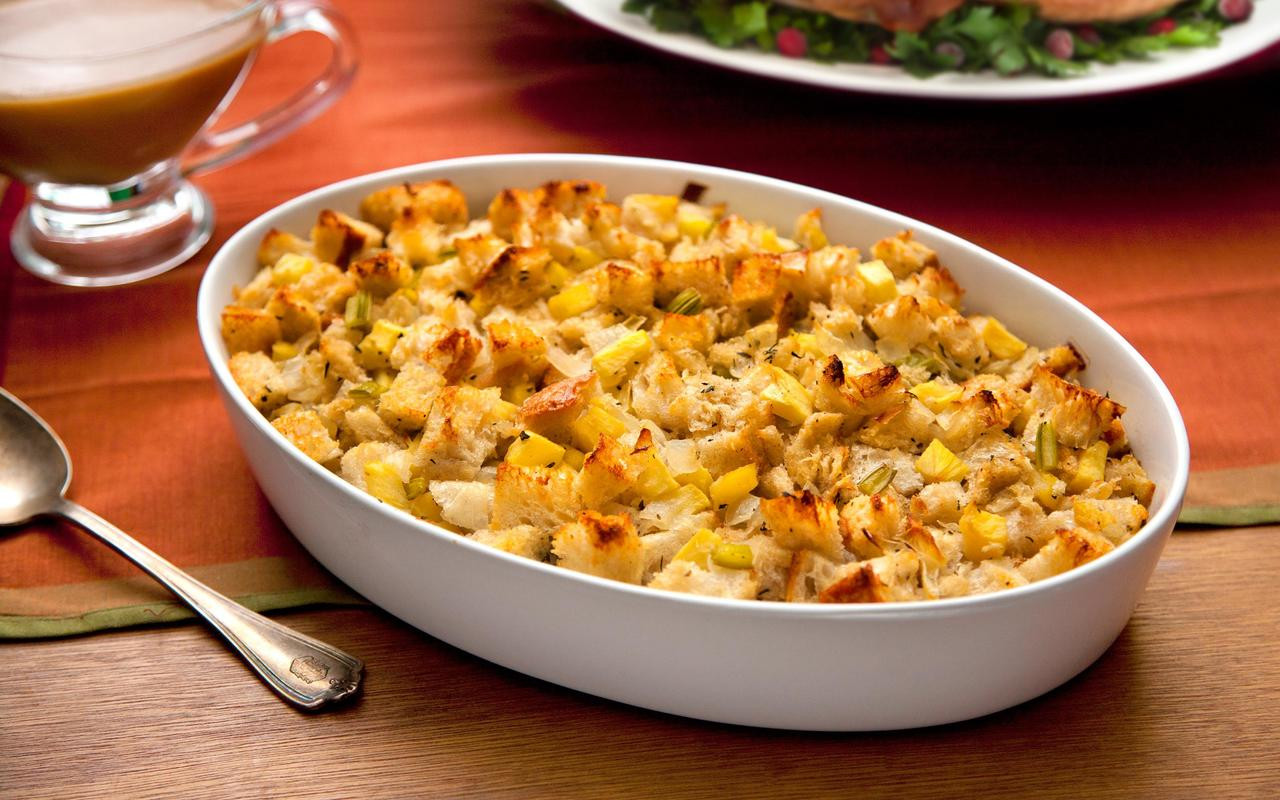 Turkey Recipe Thanksgiving  Thanksgiving Stuffing with Apples and Sage Recipe Chowhound