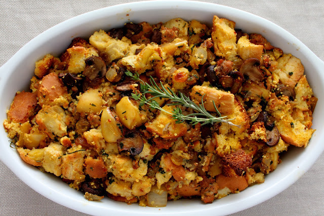 Turkey Sausage Stuffing Recipes Thanksgiving  Artisan Cornbread Stuffing with Apples and Italian Sausage