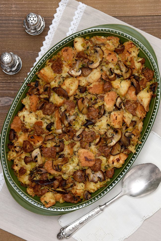 Turkey Sausage Stuffing Recipes Thanksgiving  Mushroom Leek and Turkey Sausage Stuffing Older Mommy