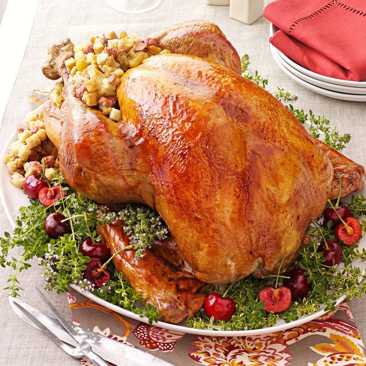 Turkey Thanksgiving Dinner  Turkey with Cherry Stuffing Recipe