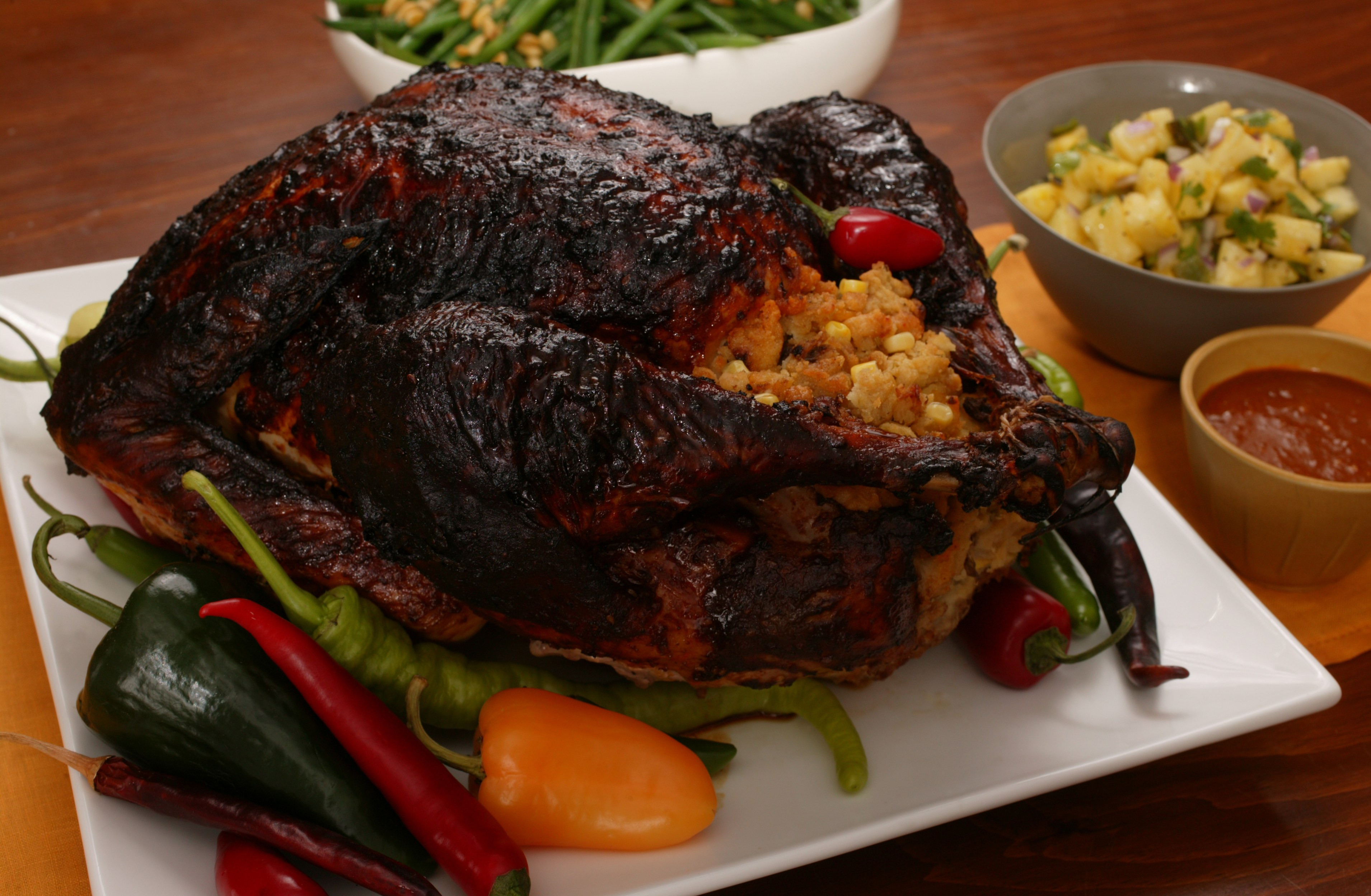 Turkey Thanksgiving Recipe  Mole Roasted Turkey with Masa Stuffing and Chile Gravy
