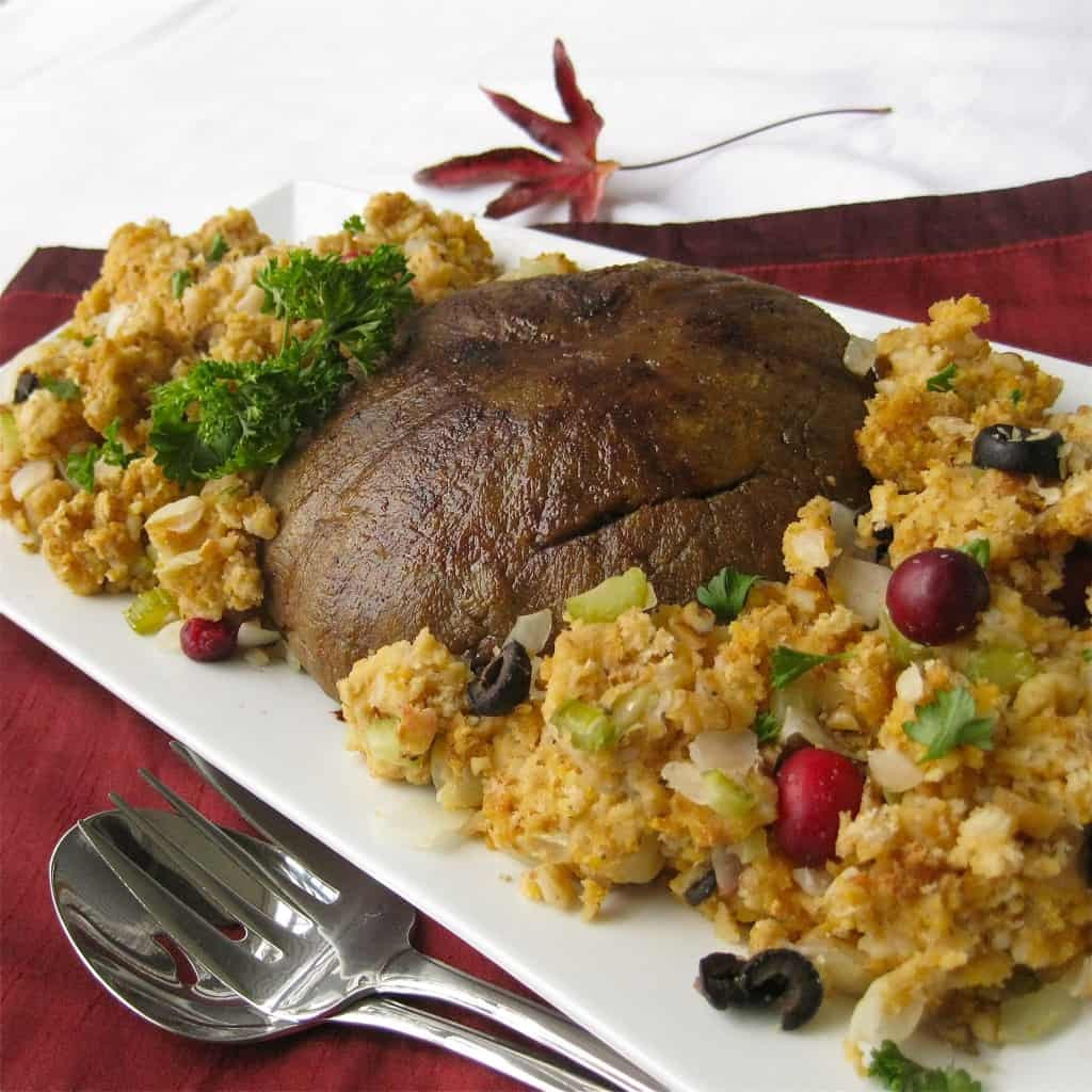 "Vegan Recipes For Thanksgiving Dinner  Vegan ""Turkey"" Roast with Stuffing Vegan Yumminess"