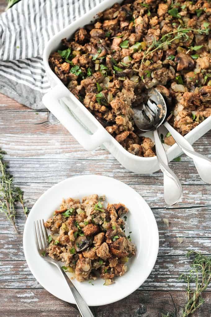 Vegan Thanksgiving Dressing  Vegan Stuffing with Mushrooms Veggie Inspired