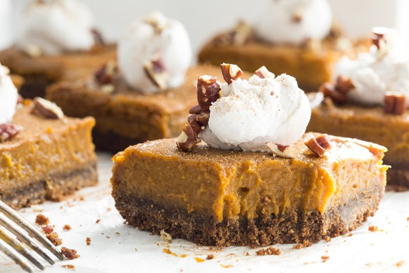 Vegan Thanksgiving Pie  Vegan Pumpkin Pie Squares with Gluten Free Graham Cracker