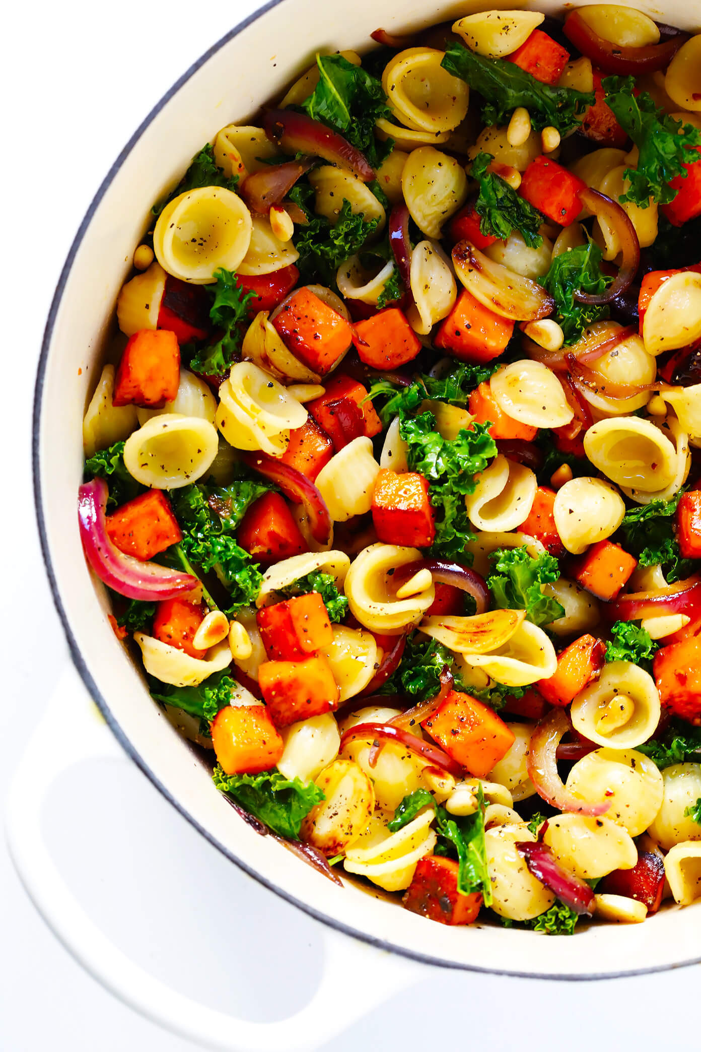Vegetarian Fall Dinner Recipes  Pasta with Caramelized Sweet Potatoes and Kale