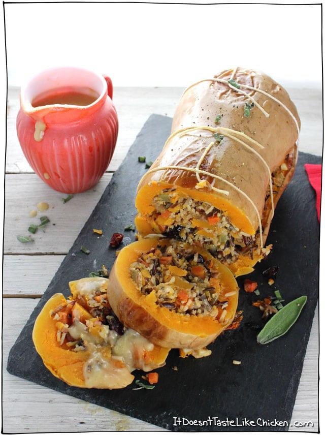 Vegetarian Main Dish Thanksgiving  Stuffed Roasted Butternut Squash • it doesn t taste like