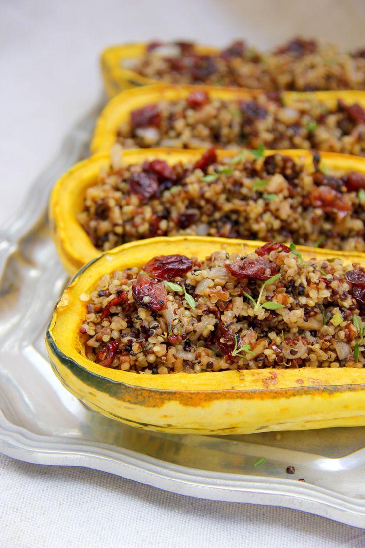 Vegetarian Main Dish Thanksgiving  Quinoa and Cranberry Stuffed Delicata Squash
