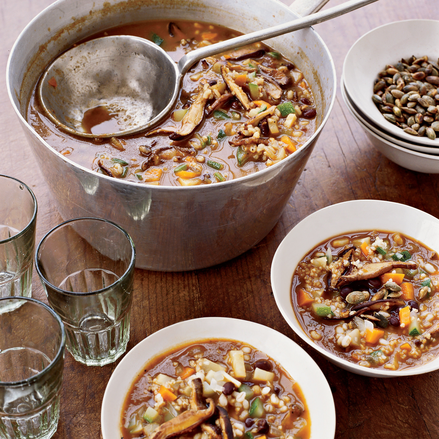Vegetarian Thanksgiving Food  Spicy Grain Soup Recipe Mary Ellen Diaz