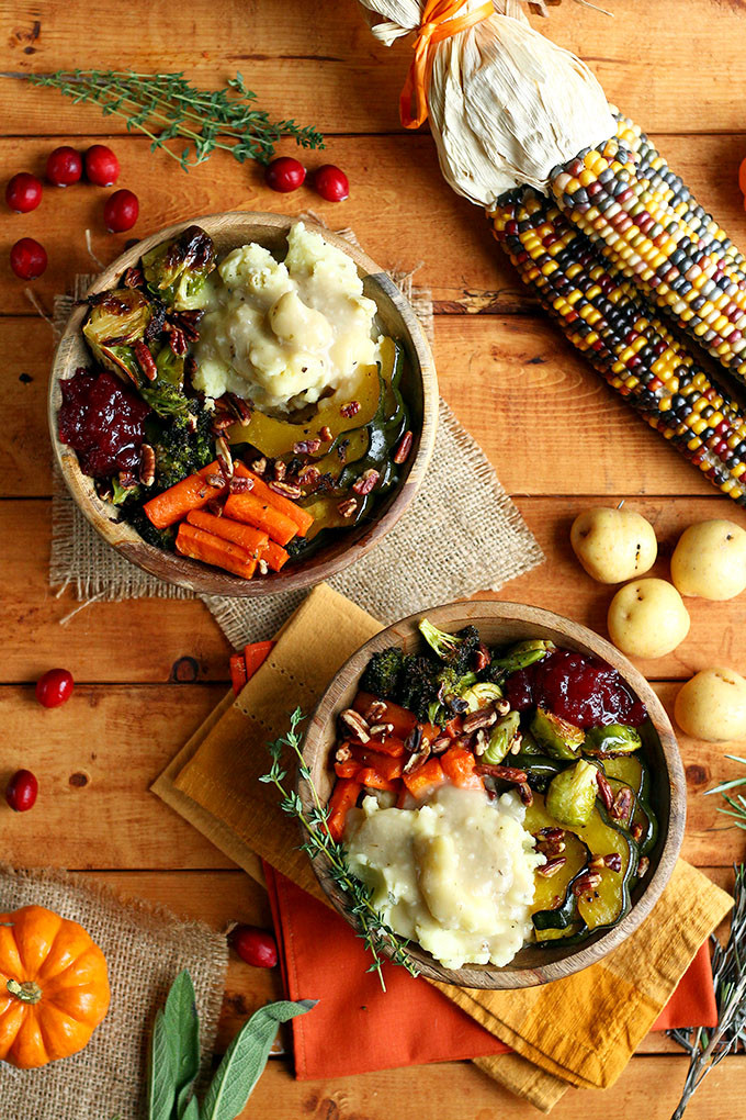 Vegetarian Turkey Thanksgiving  Roasted Vegan Thanksgiving Bowl I LOVE VEGAN