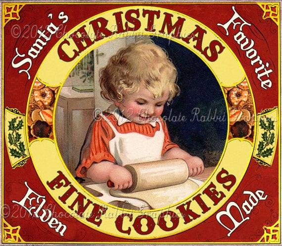 Vintage Christmas Cookies  Christmas Cookies Vintage Label Tag Digital Download Printable