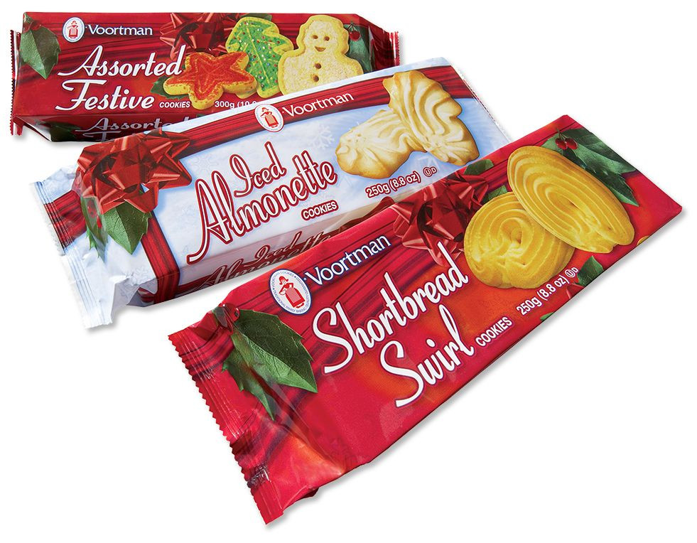 Voortman Christmas Cookies  Assorted Festive Cookies Iced Almonette Cookies and