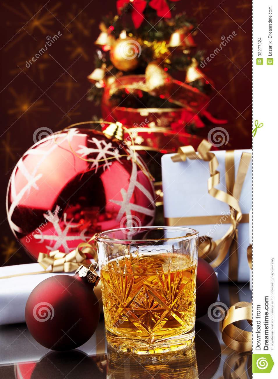 Whiskey Christmas Drinks  Stock Christmas time and glass of whiskey Image