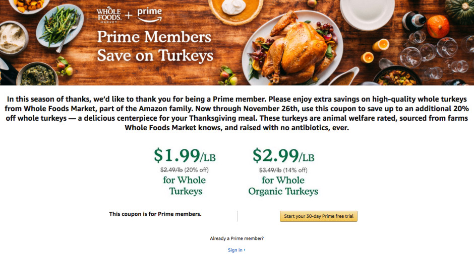 Whole Food Thanksgiving Turkey  Amazon s Whole Foods turkey promotion is ruining the